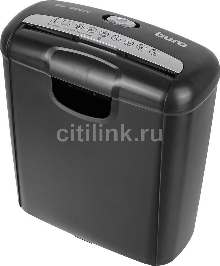 Уничтожитель бумаг BURO Home BU-S601S,  P-1,  6 мм, 6 лист. одновременно, 10л [os601s]