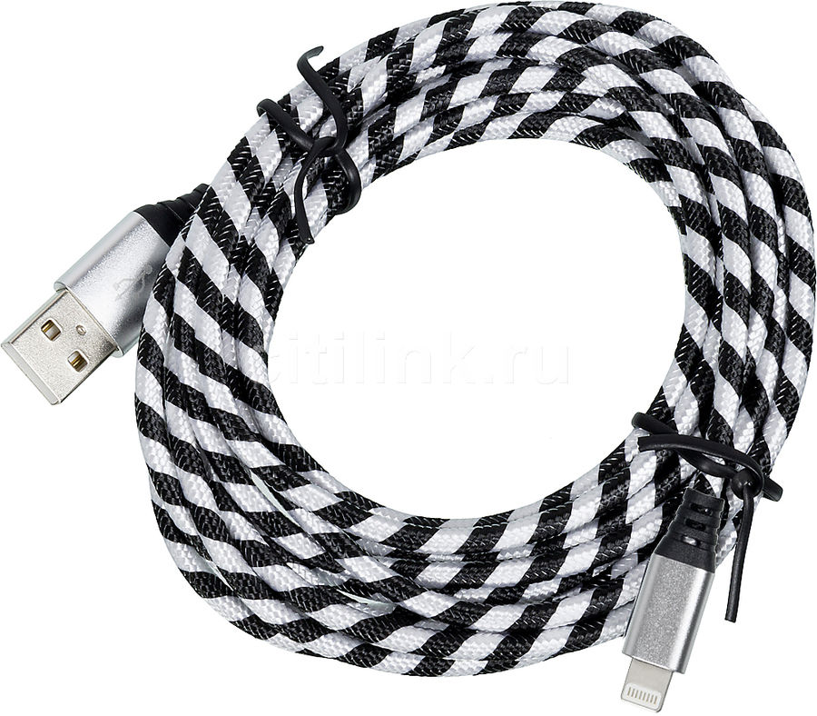 Кабель DF iZebra-01,  Lightning (m),  USB A(m),  3.0м,  черный/белый [df izebra-01 (black/white)]