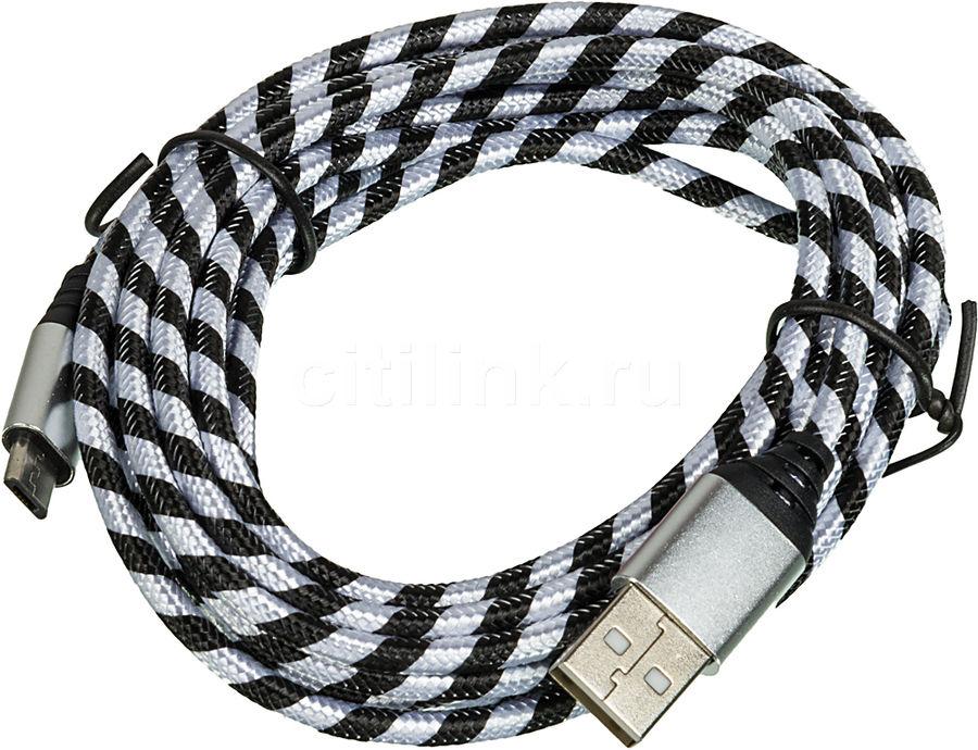 Кабель DF aZebra-01,  micro USB B (m),  USB A(m),  3.0м,  черный / белый [df azebra-01 (black/white)]