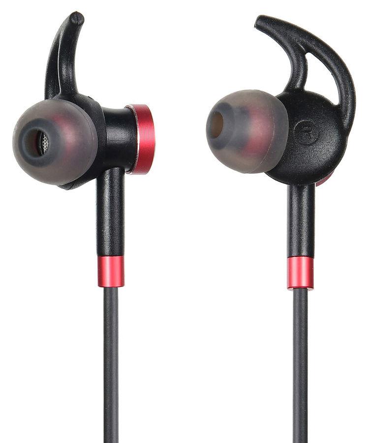 Наушники с микрофоном DIGMA BT-04, Bluetooth, вкладыши, черный/красный [e713bt]