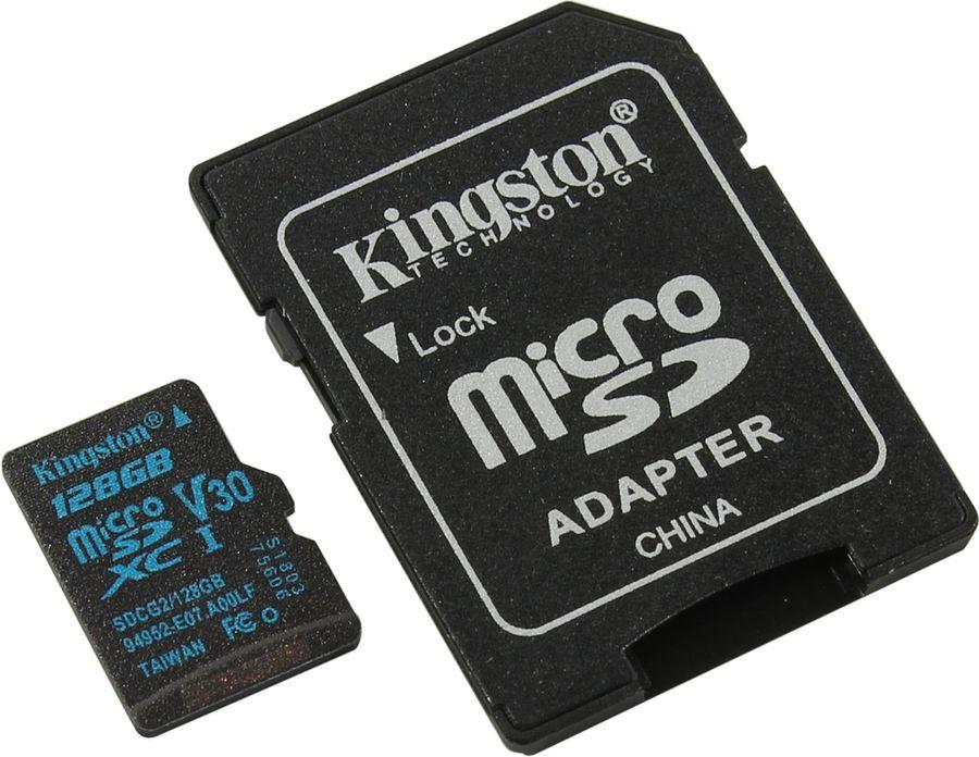 Карта памяти microSDXC KINGSTON Canvas Go 128 ГБ, 90 МБ/с, Class 10, SDCG2/128GB,  1 шт., переходник SD