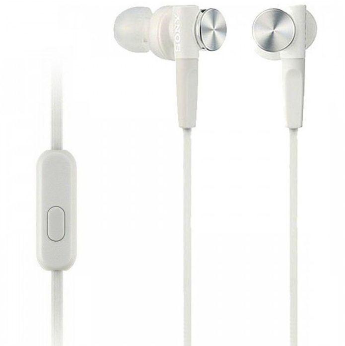 Наушники с микрофоном SONY MDR-XB50AP, 3.5 мм, вкладыши, белый [mdrxb50apw.ce7]
