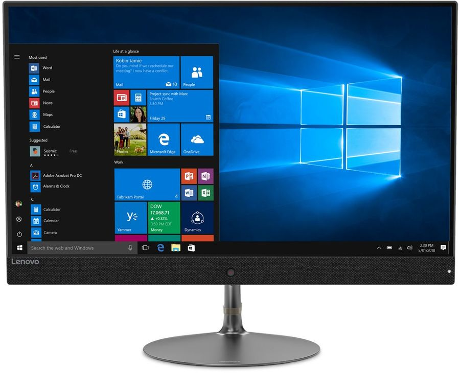 "Моноблок LENOVO IdeaCentre 730S-24IKB, 23.8"", Intel Core i3 7020U, 4Гб, 256Гб SSD,  Intel HD Graphics 620, Windows 10, темно-серый [f0dy001nrk]"