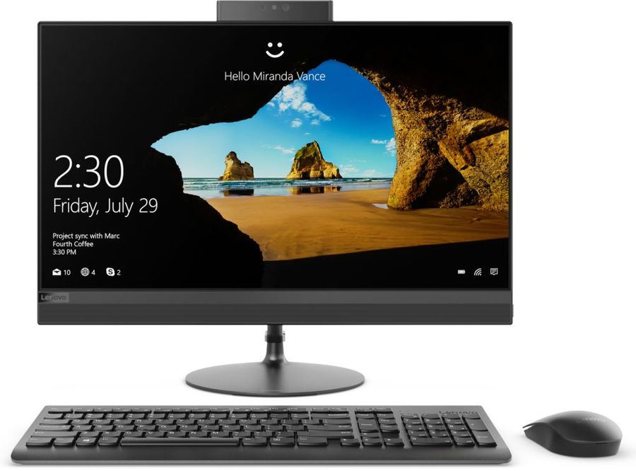 "Моноблок LENOVO IdeaCentre 520-24IKU, 23.8"", Intel Core i5 8250U, 4Гб, 16Гб Intel Optane,  1000Гб, AMD Radeon 530 - 2048 Мб, DVD-RW, Windows 10, черный [f0d200b1rk]"