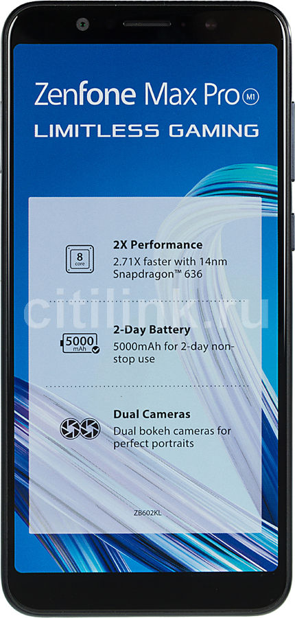 Смартфон ASUS ZenFone Max Pro M1 64Gb,  ZB602KL,  черный