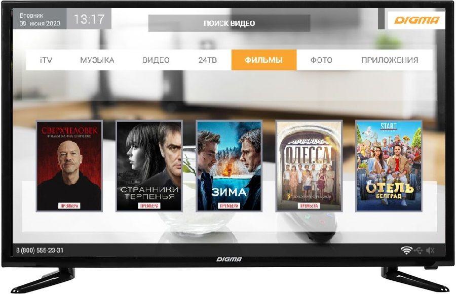 "LED телевизор DIGMA DM-LED32R301BT2S  ""R"", 32"", HD READY (720p),  черный"