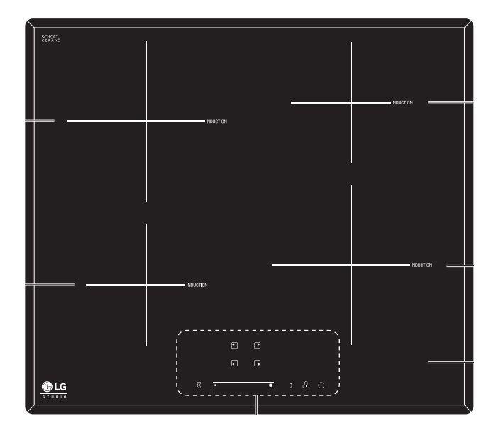 Индукционная варочная панель LG HU642PH,  индукционная,  независимая,  черный