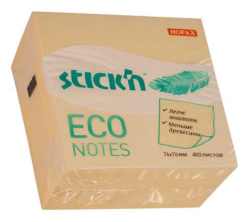 Блок самоклеящийся бумажный Stick`n ECO 21799 76x76мм 400лист. 60г/м2 пастель желтый
