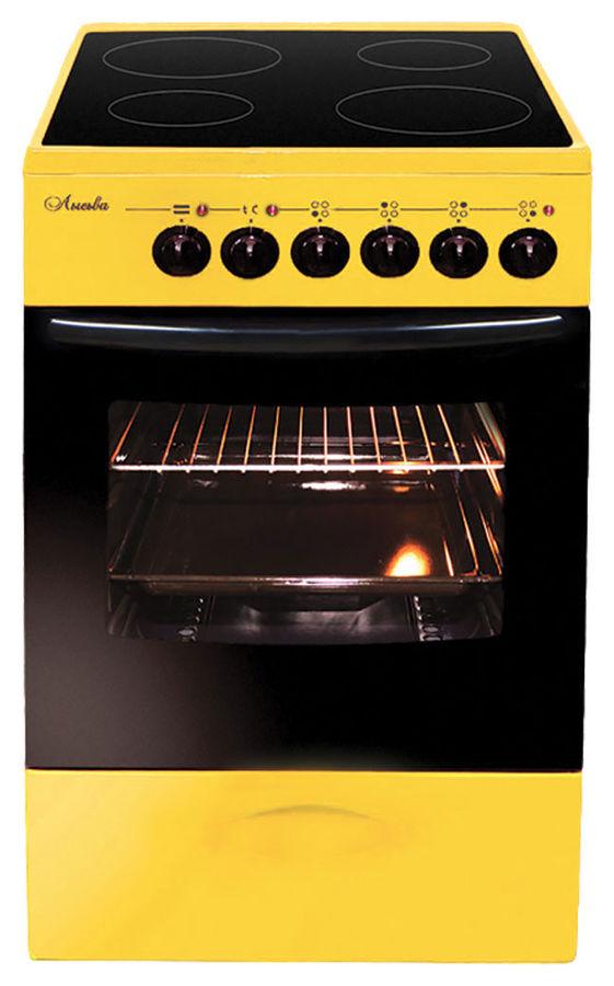 Электрическая плита ЛЫСЬВА ЭПС 411 МС,  стеклокерамика,  желтый