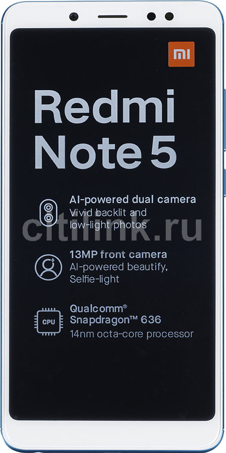 Смартфон XIAOMI Redmi Note 5 64Gb, голубой xiaomi redmi note5a 4гб 64гб китайская версия