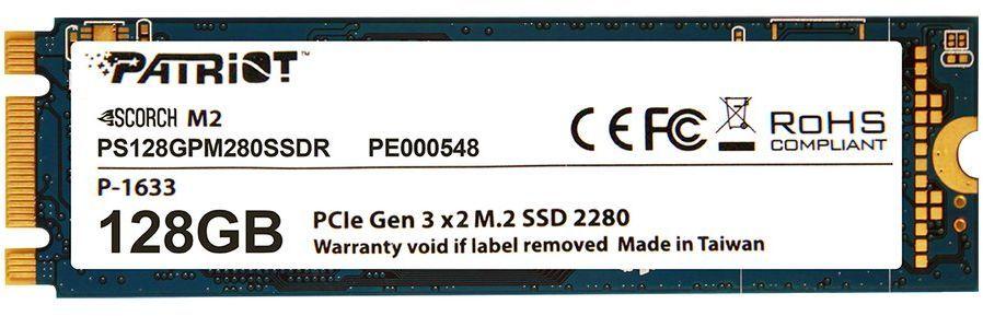 SSD накопитель PATRIOT Scorch PS128GPM280SSDR 128Гб, M.2 2280, PCI-E x2,  NVMe