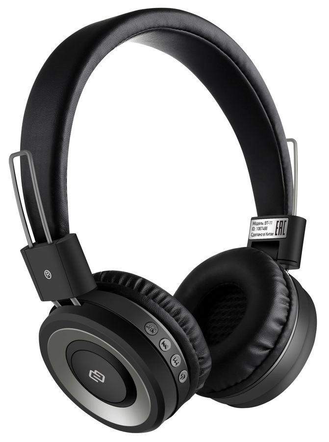 Наушники с микрофоном DIGMA BT-11, Bluetooth, накладные, черный [l100bt]