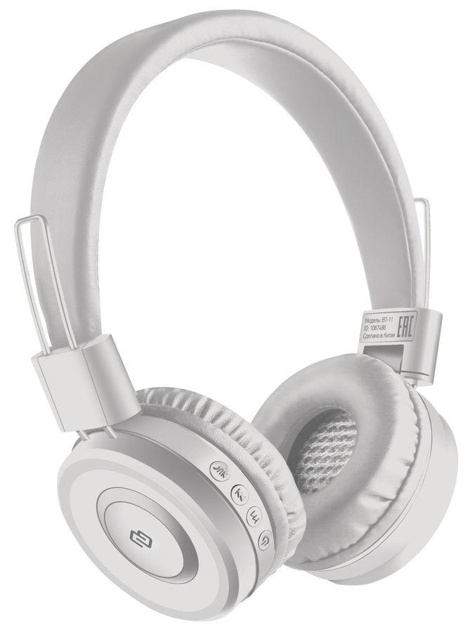 Наушники с микрофоном DIGMA BT-11, Bluetooth, накладные, белый [l100bt]