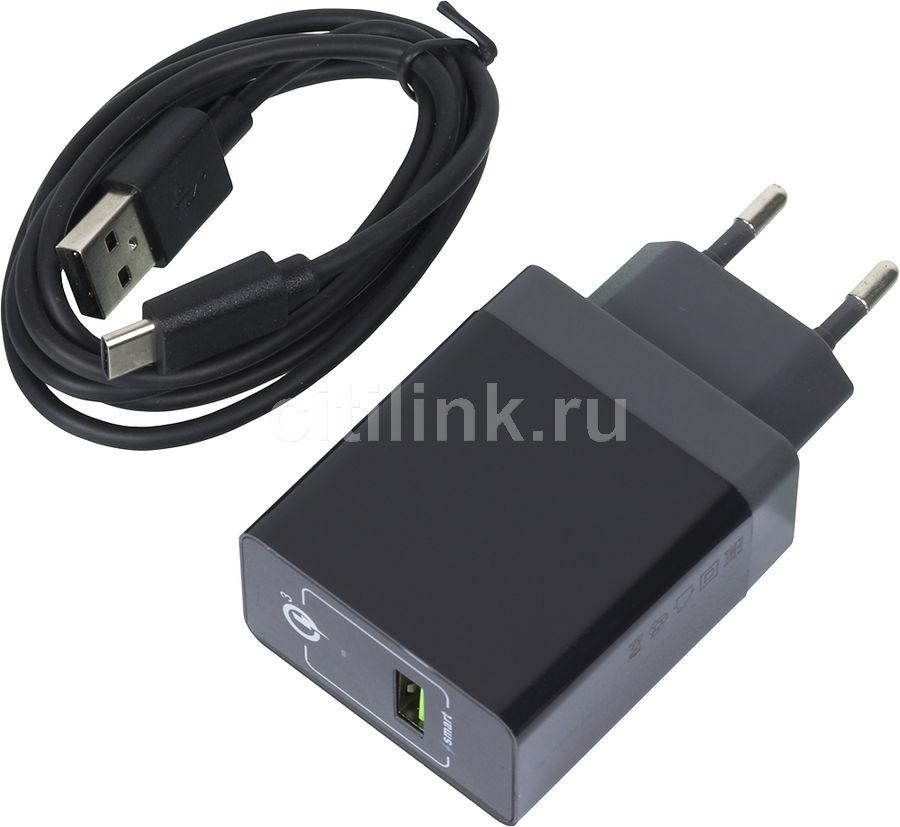 Сетевое зарядное устройство DF Tor-02,  USB,  USB type-C,  3A,  черный