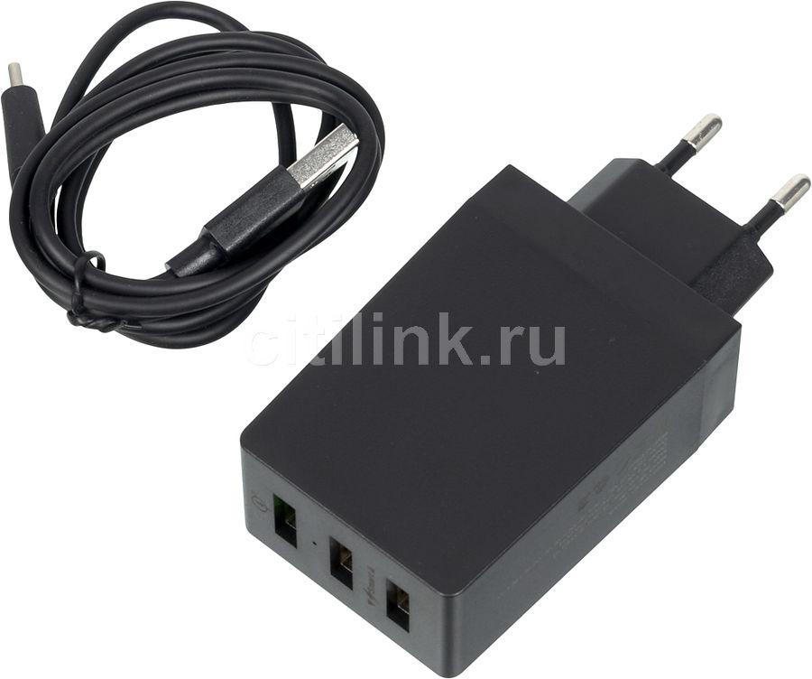Сетевое зарядное устройство DF Tor-06,  USB,  USB type-C,  3A,  черный