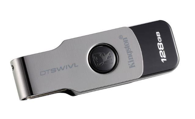 Флешка USB KINGSTON DataTraveler DTSWIVL/128GB 128Гб, USB3.0, серебристый и черный