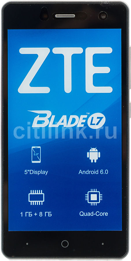 Смартфон ZTE Blade L7, черный смартфон micromax q346 lite grey 4 5 854x480 fm радио bluetooth wi fi 3g android 5 1 1700 ма ч