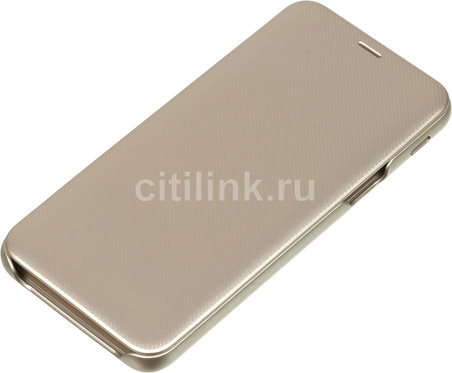 Чехол (флип-кейс) SAMSUNG Wallet Cover, для Samsung Galaxy J6 (2018), золотистый [ef-wj600cfegru]