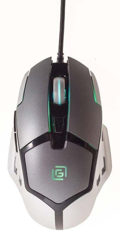 Мышь OKLICK 915G, игровая, оптическая, проводная, USB, черный и серебристый