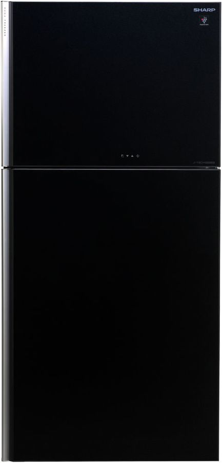 Холодильник SHARP SJ-XG60PGBK,  двухкамерный, черное стекло
