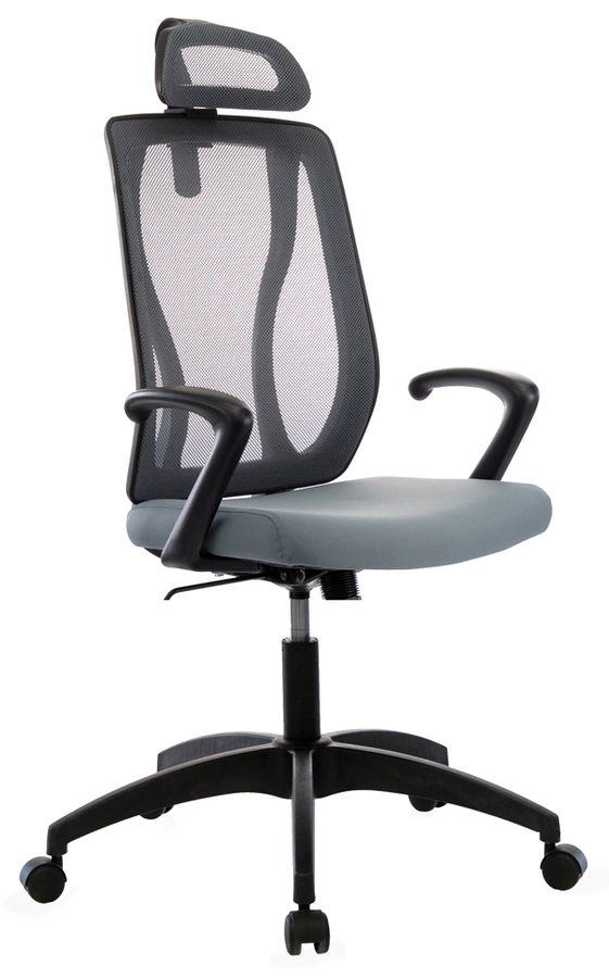 Кресло руководителя БЮРОКРАТ MC-411-H, на колесиках, сетка/ткань, серый [mc-411-h/dg/26-25]