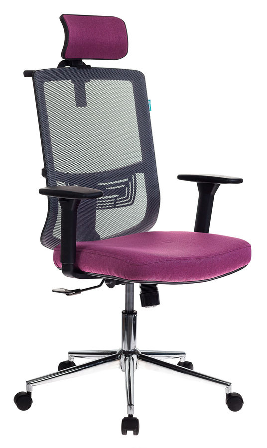 Кресло руководителя БЮРОКРАТ MC-612-H, на колесиках, сетка/ткань, розовый/серый [mc-612-h/dg/berry]