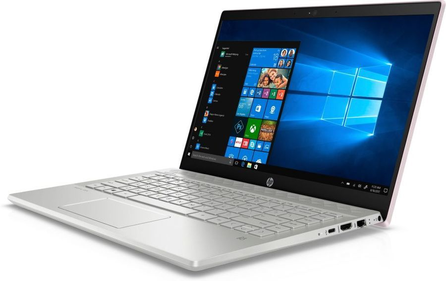 "Ноутбук HP 14-ce0029ur, 14"",  IPS, Intel  Core i7  8550U 1.8ГГц, 16Гб, 1000Гб,  256Гб SSD,  nVidia GeForce  Mx150 - 4096 Мб, Windows 10, 4GU99EA,  розовый"