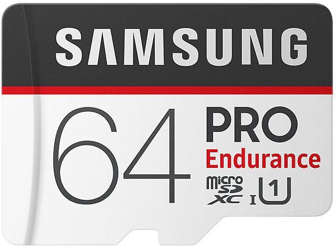Карта памяти microSDXC UHS-I U1 SAMSUNG PRO Endurance 64 ГБ, 100 МБ/с, Class 10, MB-MJ64GA/RU,  1 шт., переходник SD