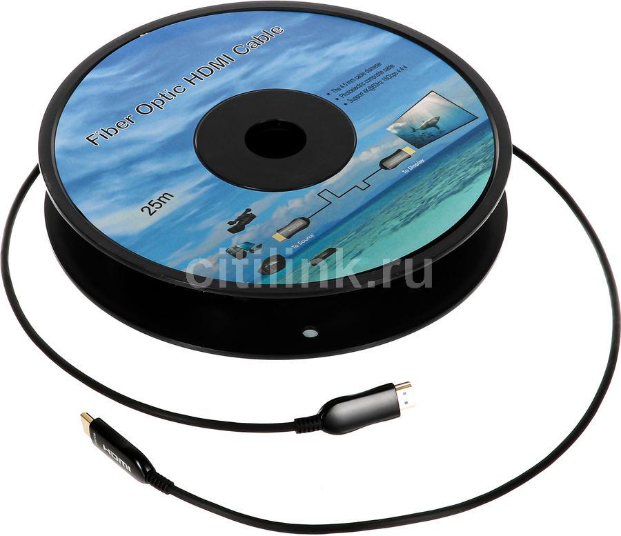 Кабель аудио-видео  Fiber Optic,  HDMI (m)  -  HDMI (m) ,  ver 2.0, 25м, GOLD черный,  катушка