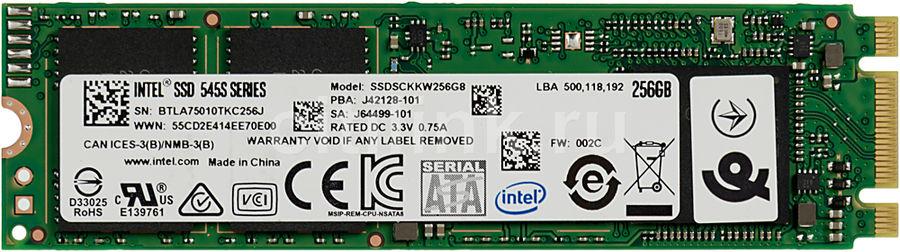 SSD накопитель INTEL 545s Series SSDSCKKW256G8 256Гб, M.2 2280, SATA III [ssdsckkw256g8 958690]