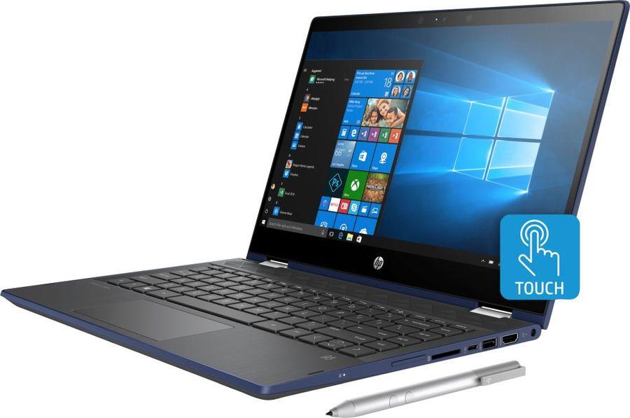 """Ноутбук-трансформер HP Pavilion x360 14-cd0019ur, 14"""",  IPS, Intel  Core i5  8250U 1.6ГГц, 4Гб, 256Гб SSD,  nVidia GeForce  Mx130 - 2048 Мб, Windows 10, 4MX59EA,  синий"""