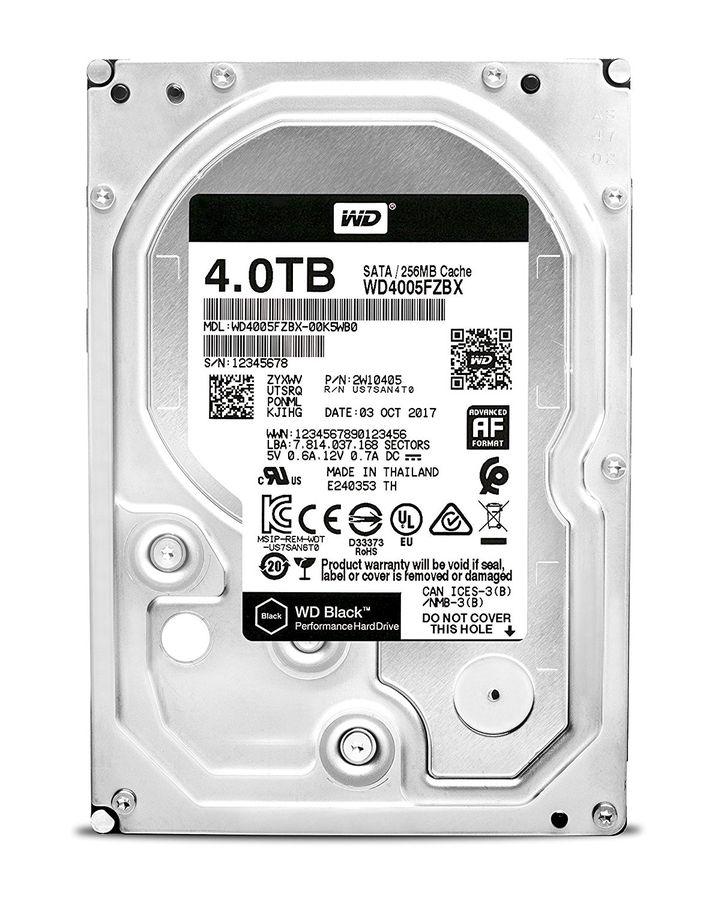 "Жесткий диск WD Black WD4005FZBX,  4Тб,  HDD,  SATA III,  3.5"""