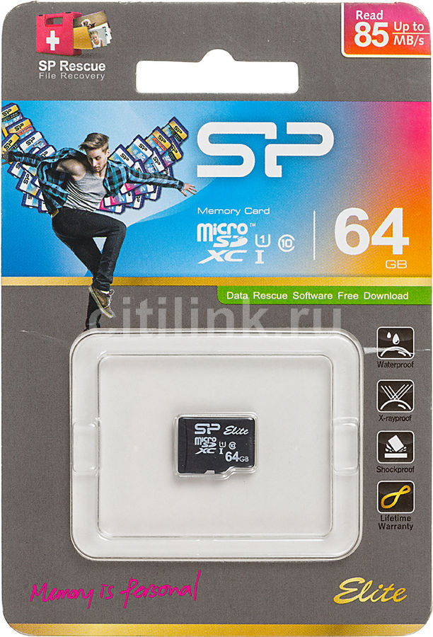 Карта памяти microSDXC UHS-I SILICON POWER 64 ГБ, 85 МБ/с, Class 10, SP064GBSTXBU1V10,  1 шт.