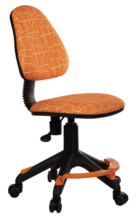 Кресло детское БЮРОКРАТ KD-4-F, на колесиках, ткань, оранжевый [kd-4-f/giraffe]