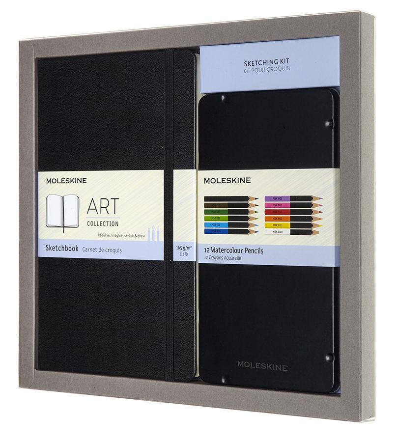 Набор Moleskine Art Collection Sketching блокнот для рисования/акварельные карандаши Large нелинован