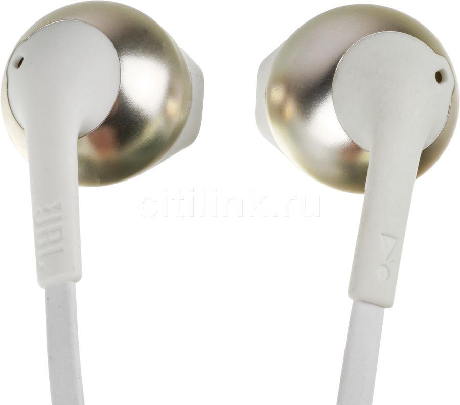 Наушники с микрофоном JBL T205BT, Bluetooth, вкладыши, белый/золотистый [jblt205btcgd]