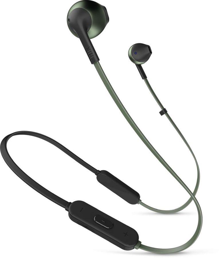 Наушники с микрофоном JBL T205BT, Bluetooth, вкладыши, зеленый [jblt205btgrn]
