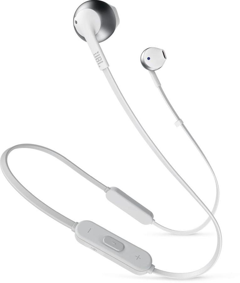 Наушники с микрофоном JBL T205BT, Bluetooth, вкладыши, белый/серебристый [jblt205btsil]