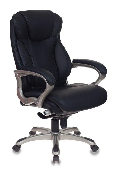 Кресло руководителя БЮРОКРАТ T-9916, на колесиках, рециклированная кожа/кожзам, черный [t-9916/black]