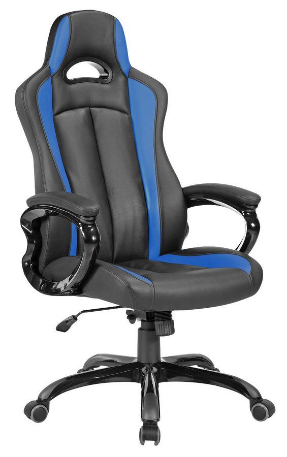Кресло игровое БЮРОКРАТ CH-827, на колесиках, искусственная кожа, черно-синий [ch-827/bl+blue]