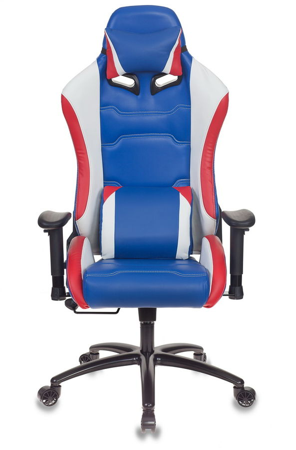 Кресло игровое БЮРОКРАТ CH-781, на колесиках, кожзам, синий/белый/красный [ch-781/blue+w+r]