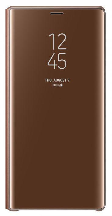 Чехол (флип-кейс) SAMSUNG Clear View Standing Cover, для Samsung Galaxy Note 9, коричневый [ef-zn960caegru]