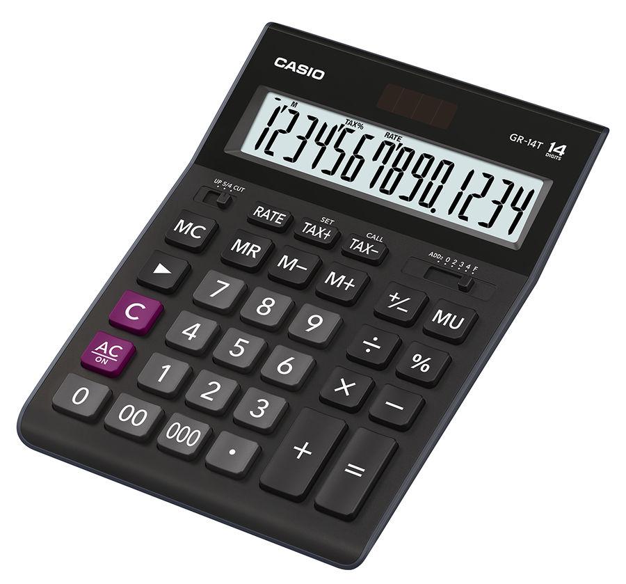 Калькулятор CASIO GR-14T,  14-разрядный, черный