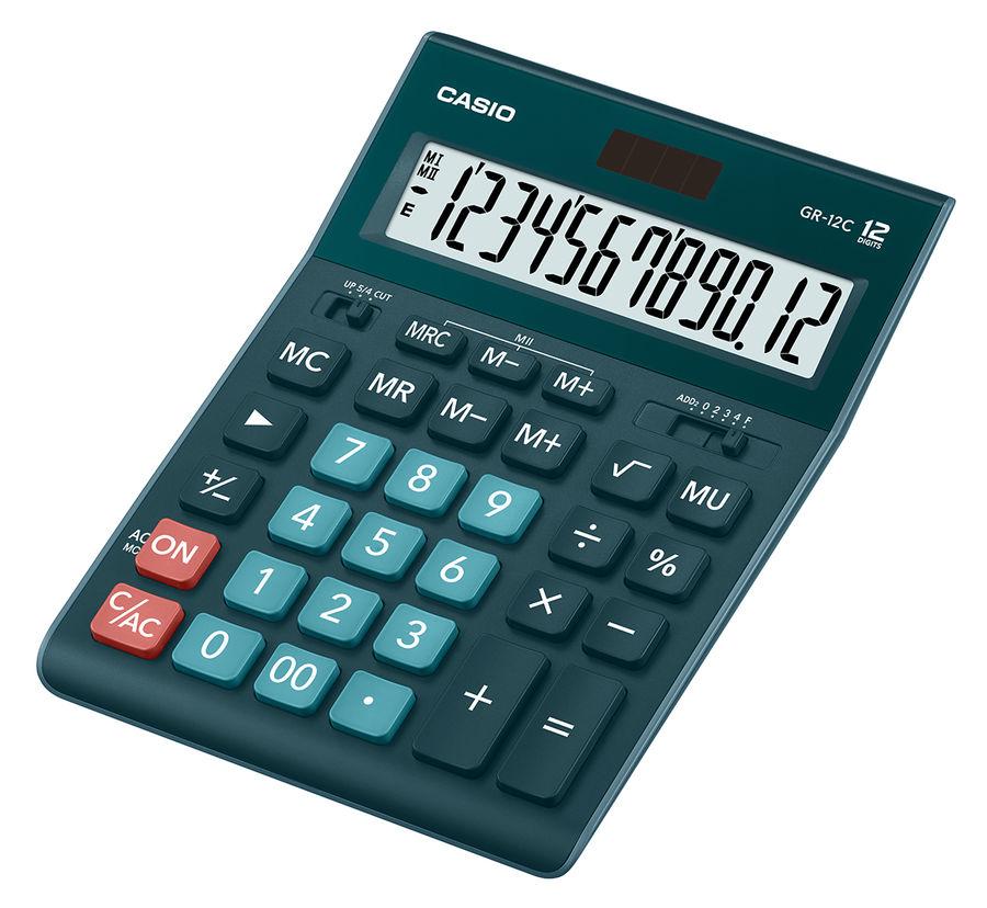 Калькулятор CASIO GR-12C-DG,  12-разрядный, темно-зеленый