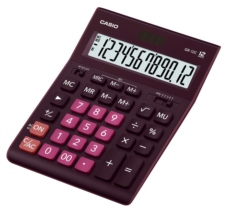 Калькулятор CASIO GR-12C-WR,  12-разрядный, бордовый