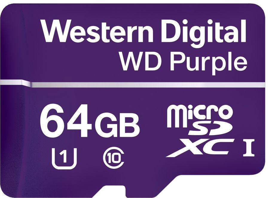 Карта памяти microSDXC UHS-I U1 WD Purple 64 ГБ, 80 МБ/с, Class 10, WDD064G1P0A,  1 шт.