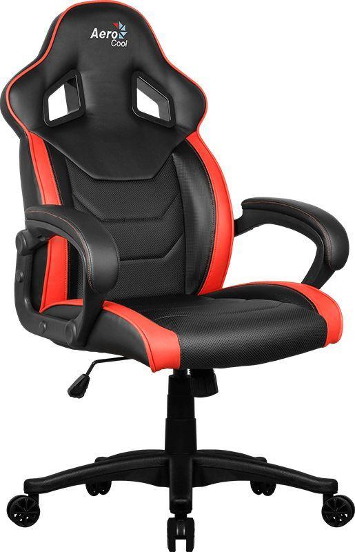 Кресло игровое AEROCOOL AC60C AIR-BR, на колесиках, ПВХ/полиуретан, черный/красный [533914]