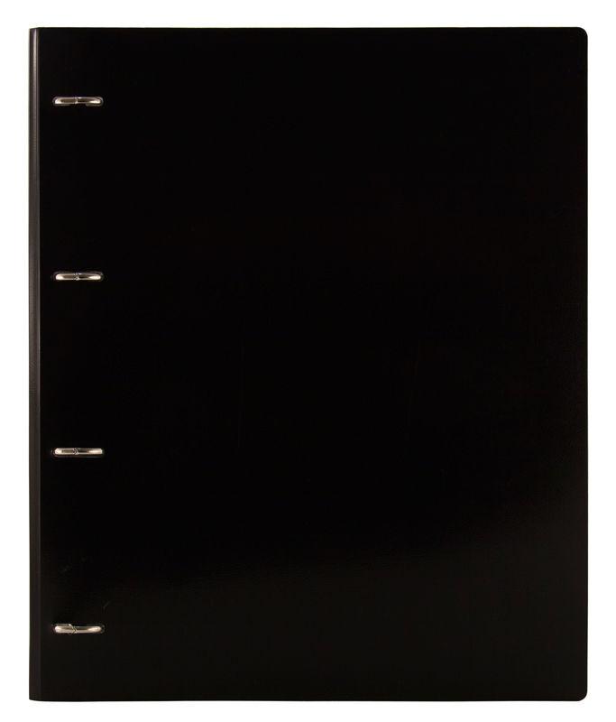 Папка на 4-х D-кольцах Бюрократ Black&White BW0840/4DBLCK A4 пластик 0.8мм кор.40мм черный/белый