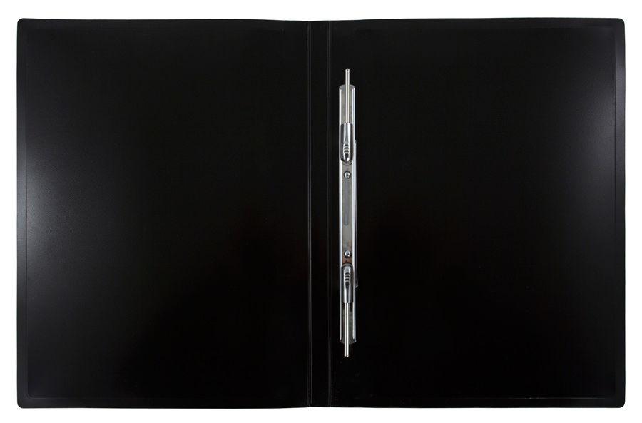 Папка с метал.пруж.скоросш. Бюрократ Black&White BWPZ08PWT A4 пластик 0.8мм белый/черный