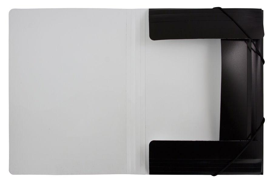 Папка на резинке Бюрократ Black&White BWPR05BLCK A4 пластик кор.30мм 0.5мм черный/белый